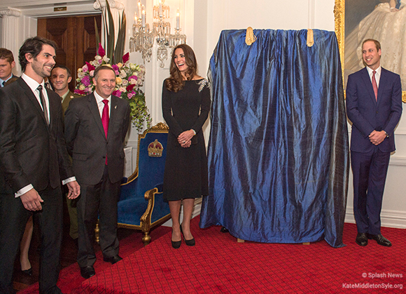 Kate and William before the portrait is unveiled