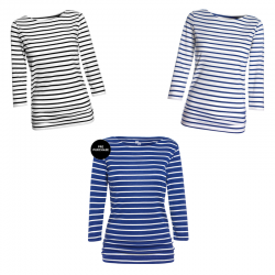 ME+EM Breton Top in White, Cobalt and Black