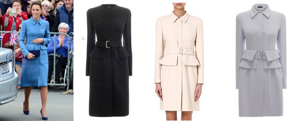 A trio of different McQueen coats, all with similar detailing