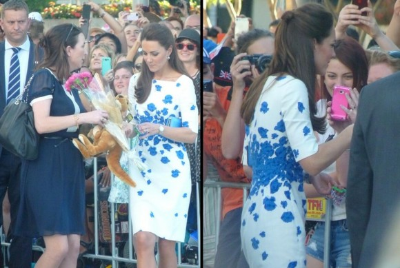 William and Kate meeting the public during a walkabout.  © Rebecca English, The Daily Mail & Mail Online, via What Kate Wore