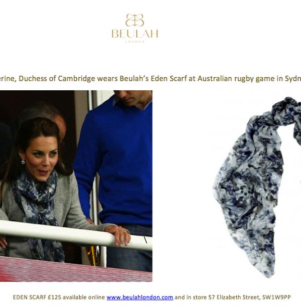 Catherine, Duchess of Cambridge wears Beulah's Eden scarf to an Australian Rugby Match in Sydney #royaltour #australia #duchessofcambridge http://www.beulahlondon.com/eden-scarf.html