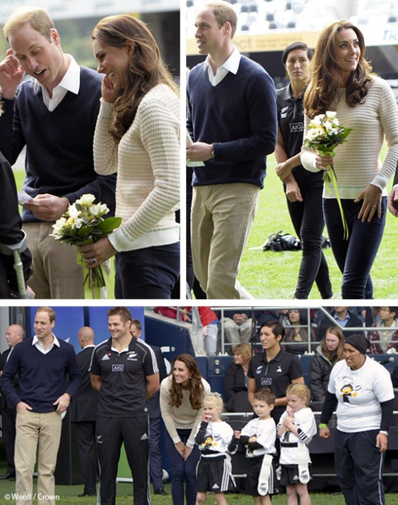 Kate and William coaching young rugby players