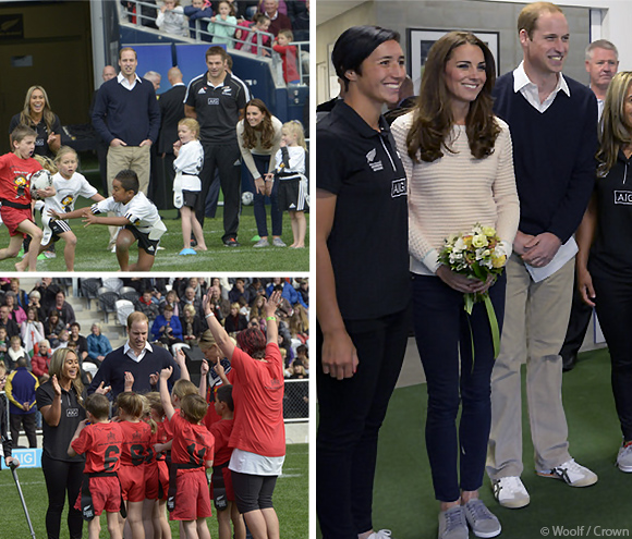 Kate and William coaching their rugby teams in New Zealand today