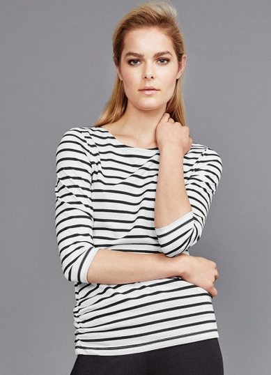 ME+EM Breton Top in Black and White Stripe