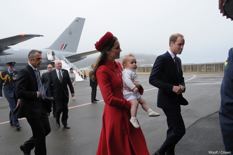 William, Kate and Prince George land in Wellington, New Zealand