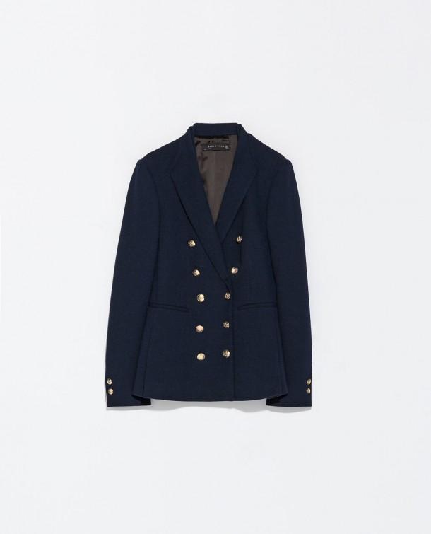 Zara double breasted military blazer