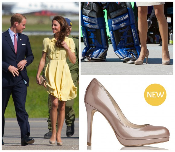 Kate middleton pearl champagne sledge shoes