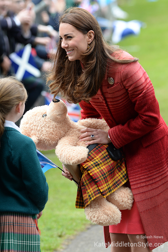 Kate was presented with a teddy bear wearing a Strathearn tartan kilt