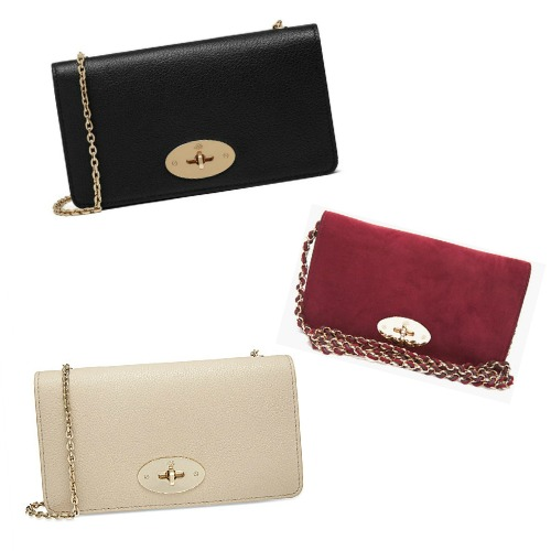 Kate Middleton's Mulberry Bayswater Wallet Clutch Bags in Black, Maroon and Cream suede