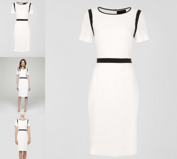 Kate wore Jaeger's White Crepe Dress with Navy Trims today.