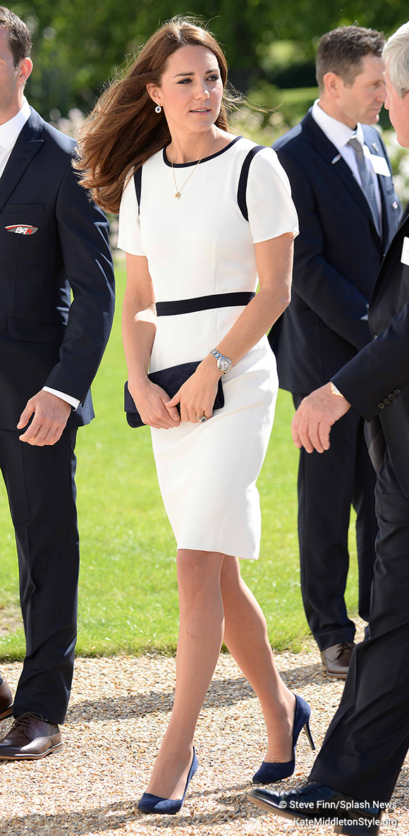 Kate wore a Jaeger dress today for the Americas Cup event