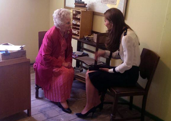 Kate meeting lady body who worked with her grandmothe