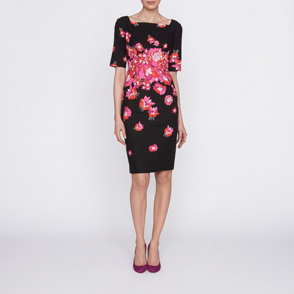 LK Bennett Lasana Dress in Black and Pink