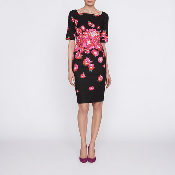 L.K. Bennett Lasana Dress in black with pink, orange and red poppies