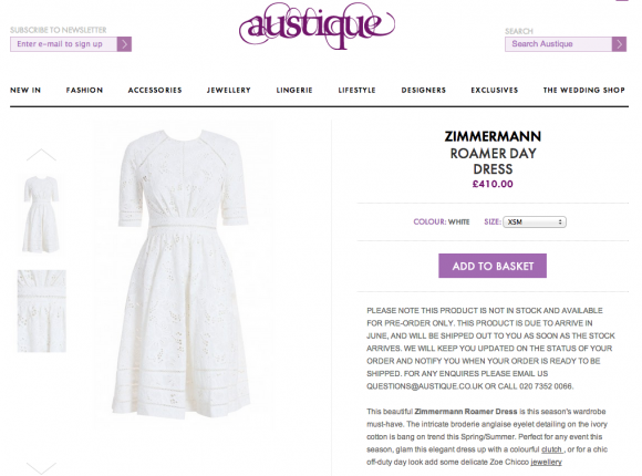 You can preorder the Zimmermann Roamer Dress from Austique today