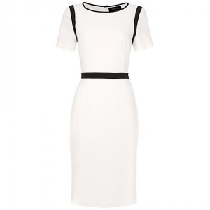 Jaeger Crepe Dress with Navy Trim