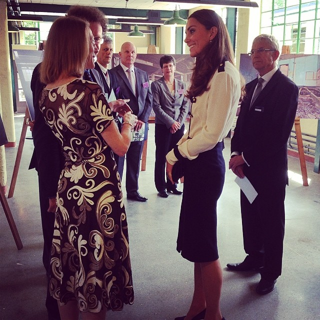 Via Clarence House Instagram: The Duchess of Cambridge meets staff involved in the restoration of @bletchleypark