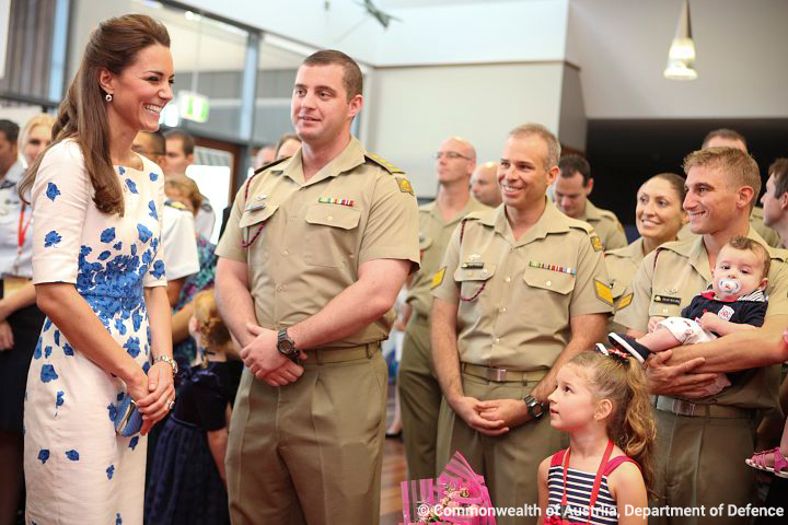 Kate wearing the L.K. Bennett Lasa dress during a visit to the RAAF.