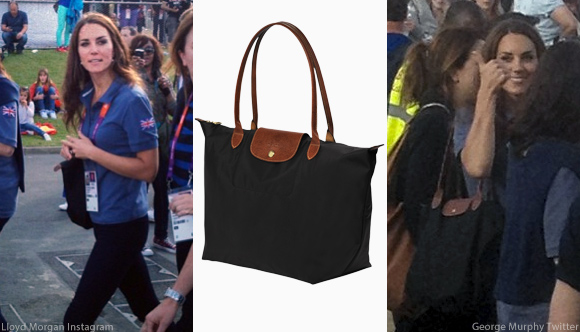 Kate carrying her Longchamp Le Pliage bag