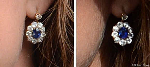 Kate's sapphire earrings. (Pictured on previous occasions).