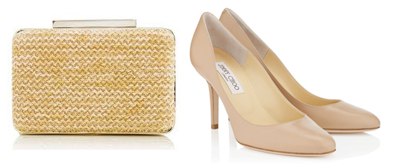Left: LK Bennett Natalie clutch  Right:  Jimmy Choo Gilbert Shoes