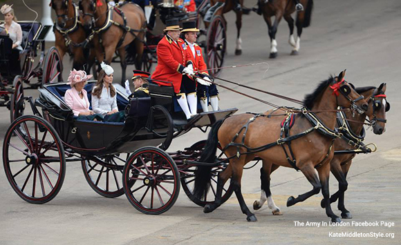 Kate in the carriage with The Duchess of Cornwall and Prince Harry