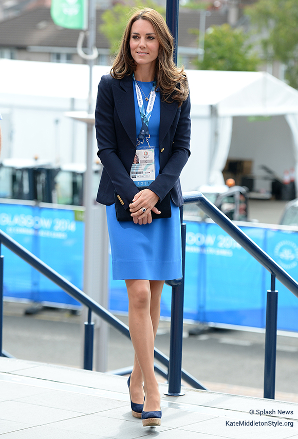 Kate Middleton wearing the blue Stuart Weitzman Corkswoon wedges
