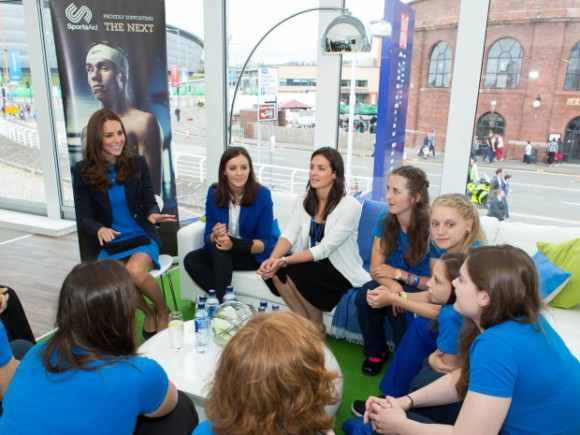 Her Royal Highness the Duchess of Cambridge meets SportsAid athletes and ambassadors at the charity's reception in Glasgow today during her visit to the Commonwealth Games.