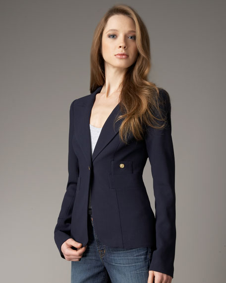 Front of the navy blue Smythe Blazer