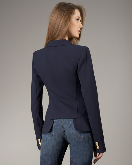 Back of the navy blue Smythe Blazer