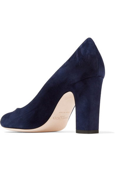 Jimmy Choo Billie in blue suede with a block heel