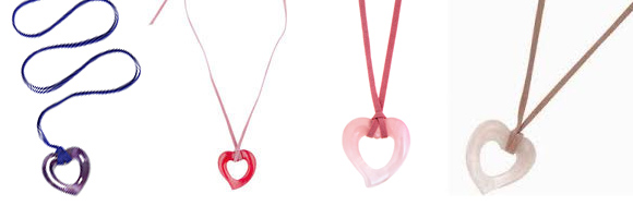 The Lola Rose heart necklace came in many different colours