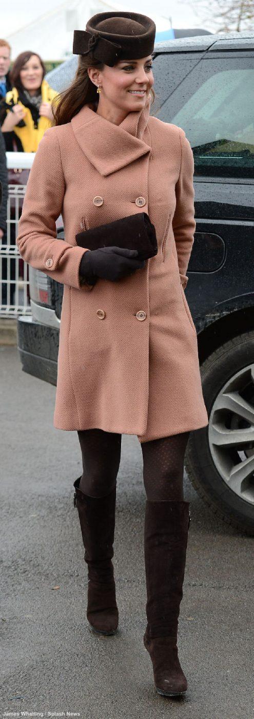 Kate Middleton wearing the Stuart Weitzman Zipkin boots at the Cheltenham Festival in 2013