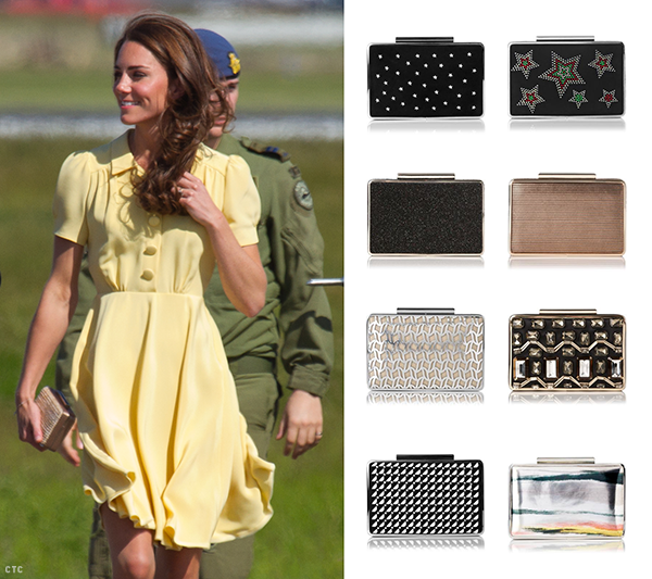 Kate carries the LK Bennett Natalie Clutch. The Nina clutch is 2015's updated version, which you can buy