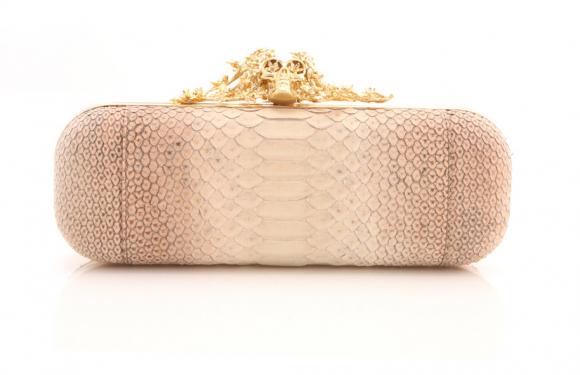 Alexander McQueen Pink Python Clutch Bag