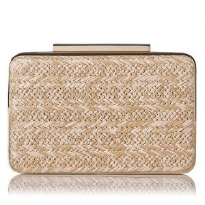 "L.K. Bennett Natalie clutch in Raffia ""Sand"" colour."