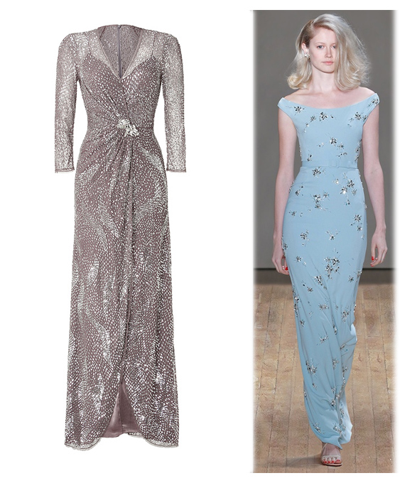 Kate's baby blue Jenny Packham gown shared many similar elements to these dresses by the same designer.