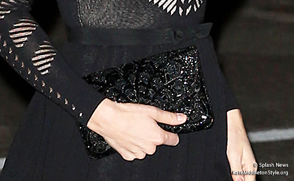 Kate's black beaded clutch bag