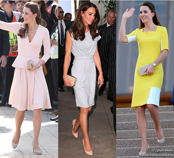 Duchess Kate carrying the Natalie clutch, proving the bag lends itself to a number of colours and styles