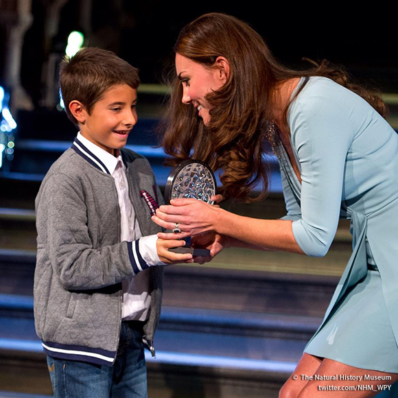 Duchess of Cambridge with young winner Carlos Naval