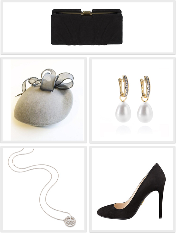 The accessories Kate wore for her engagement in London today.