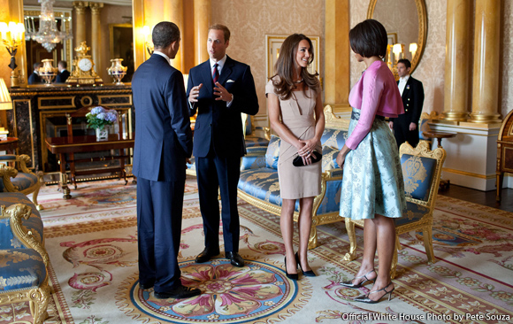 Kate Middleton Meets the Obamas wearing Nude Shola Dress