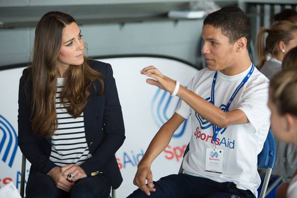 Kate Middleton wearing the Smythe Duchess blazer to the SportsAid Athlete Workshop 2013