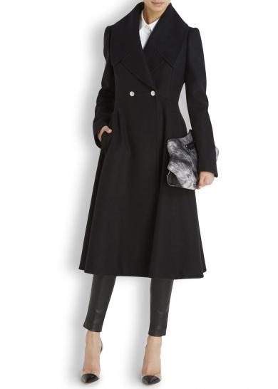 Alexander McQueen Black Flared Coat