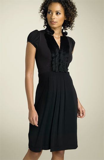 BCBGMAXAZRIA Tuxedo Trim Matte Jersey Dress