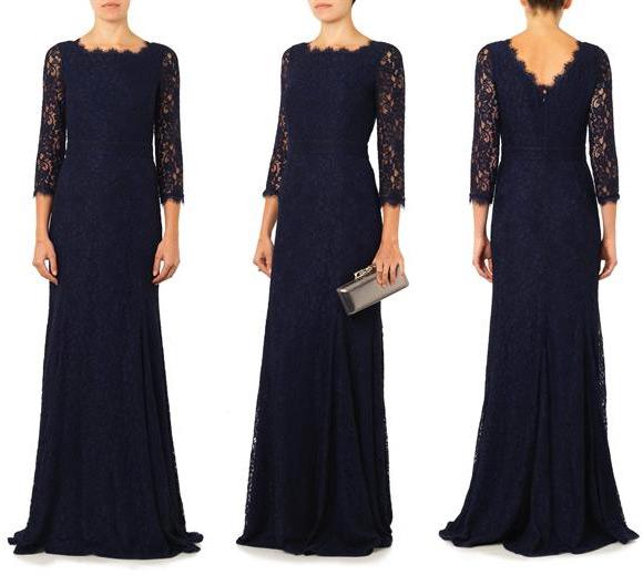 DVF Zarita lace dress in navy blue
