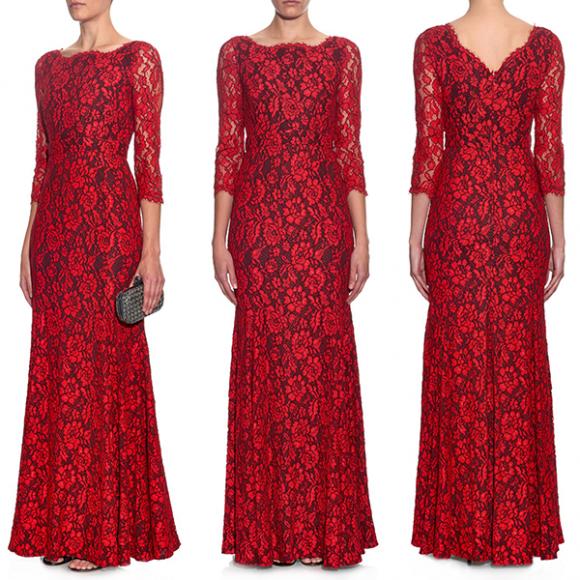 DVF Lace Zarita Dress in Red
