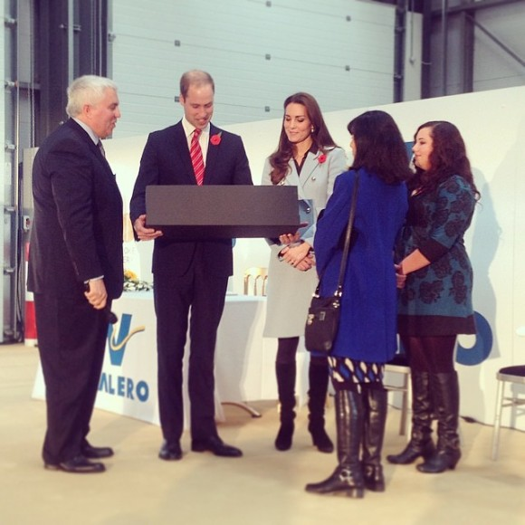 Duke & Duchess of Cambridge presented with a toy for Prince George at the Pembroke Refinery