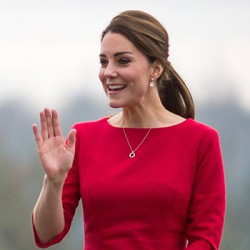 "Kate wears red Katherine Hooker ""Ascot"" dress to EACH appeal launch"