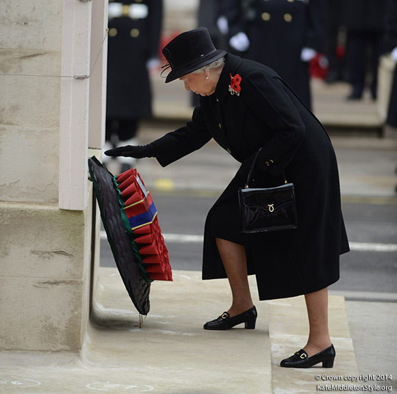 The Queen laid a wreath at the Cenotaph. Whitehall, London